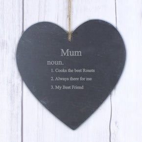 Personalised Word Definition Large Slate Heart