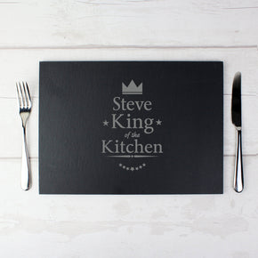 Personalised King of the Kitchen Slate Placemat