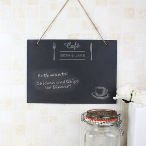 Personalised Cafe Large Hanging Slate Sign