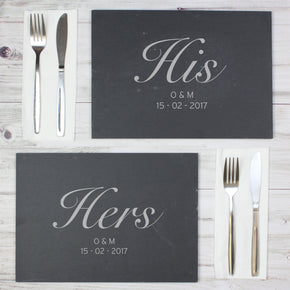 Personalised His and Hers Slate Placemat Set