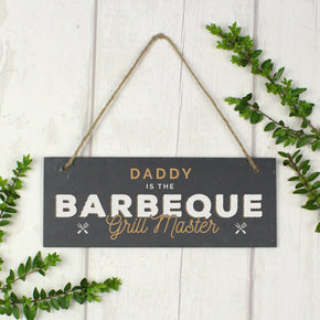 "Personalised ""Barbeque Grill Master"" Printed Hanging Slate Plaque"