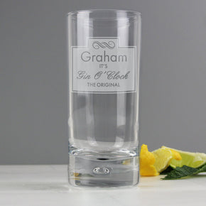 Personalised Gin O'Clock Hi Ball Bubble Glass