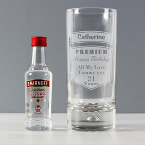 Personalised Premium Hi Ball Glass & Vodka Miniature Set