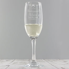 Personalised Decorative Wedding Bridesmaid Glass Flute