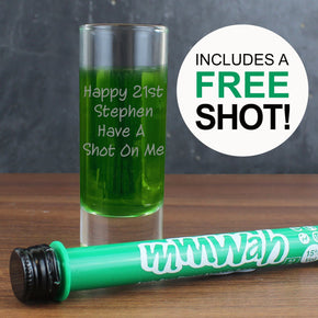 Personalised Shot Glass & Mmwah! Apple Sour Miniature Shot Set