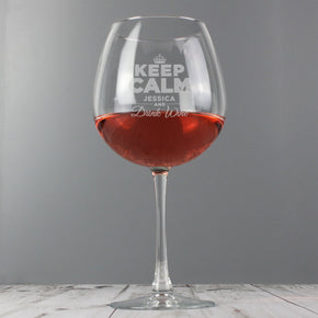 Personalised Keep Calm Bottle of Wine Glass