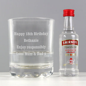 Personalised Tumbler and Smirnoff Vodka Miniature Set