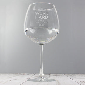 Personalised Work Hard Balloon Glass