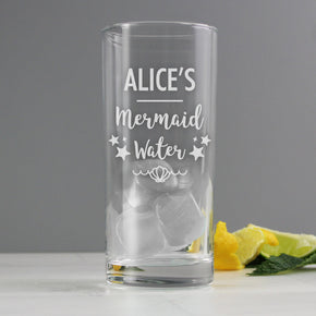 Personalised Mermaid Water Hi Ball Glass
