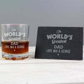 Personalised Worlds Greatest Whisky Tumbler & Slate Coaster Set