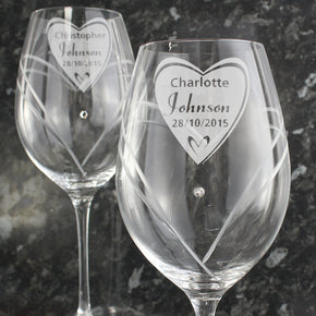 Personalised Hand Cut Big Heart Diamante Wine Glasses with Swarovski Elements