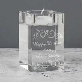 Personalised Ornate Swirl Glass Tea Light Candle Holder
