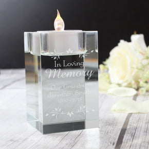 Personalised Sentiments Glass Tea Light Holder