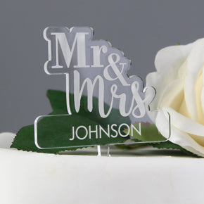 Personalised Mr & Mrs Acrylic Cake Topper