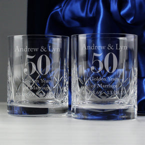 Personalised Anniversary Pair of Crystal Whisky Tumblers