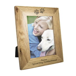 Personalised 5x7 Paw Prints Wooden Photo Frame