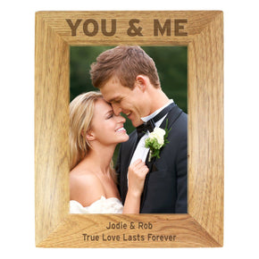 Personalised 5x7 You & Me Wooden Photo Frame
