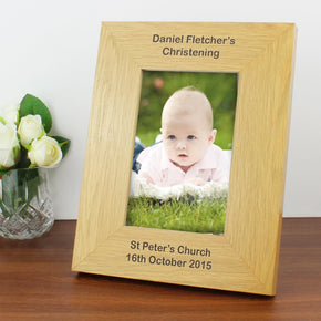 Personalised Oak Finish 4x6 Portrait Photo Frame - Long Message