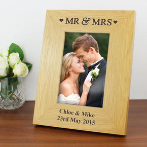 Personalised Oak Finish 4x6 Mr & Mrs Photo Frame