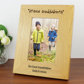 Personalised Oak Finish 4x6 Great Grandchildren Photo Frame
