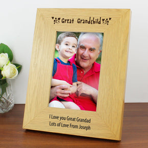 Personalised Oak Finish 4x6 Great Grandchild Photo Frame