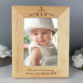 Personalised Religious Swirl 5x7 Wooden Photo Frame