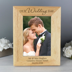 Personalised 'Our Wedding Day' Wooden 5x7 Photo Frame