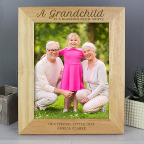 Personalised 'A Grandchild is a Blessing' Wooden Photo Frame