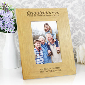 Personalised Oak Finish 'Grandchildren are a Blessing' 4x6 Photo Frame