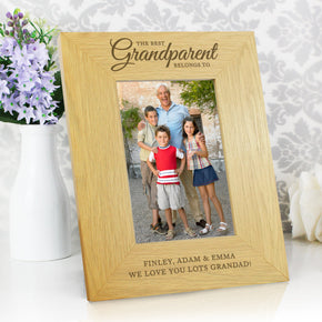 Personalised Oak Finish 'The Best Grandparent' 4x6 Photo Frame