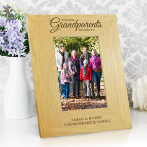 Personalised Oak Finish 'The Best Grandparents' 4x6 Photo Frame
