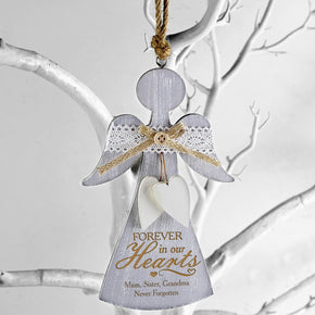 Personalised In Loving Memory Wooden Angel Decoration