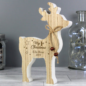 Personalised '1st Christmas' Rustic Wooden Reindeer Decoration