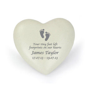 Personalised Footprints Heart Memorial