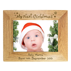 Personalised 7x5 My First Christmas Wooden Photo Frame