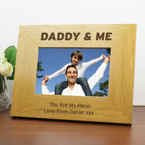 Personalised Oak Finish 6x4 Daddy & Me Photo Frame