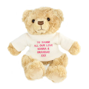 Personalised Pink Teddy Message Bear
