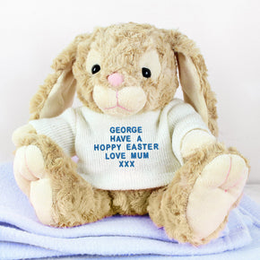 Personalised Message Bunny - Blue Embroidery