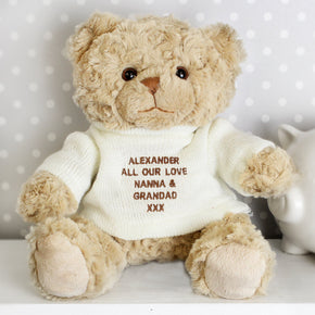 Personalised Cream Teddy Message Bear
