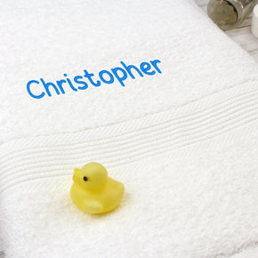 Personalised White Bath Towel - Blue