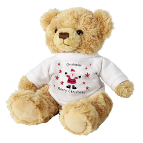 Personalised Spotty Santa Message Bear