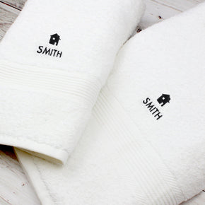 Personalised Home White Hand and Bath Towel Set