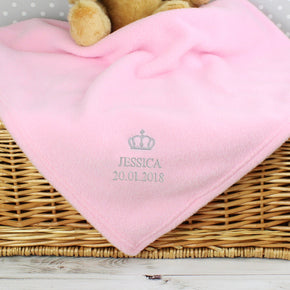 Personalised Pink Crown Baby Blanket