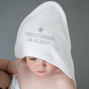 Personalised Silver Star White Hooded Baby Towel