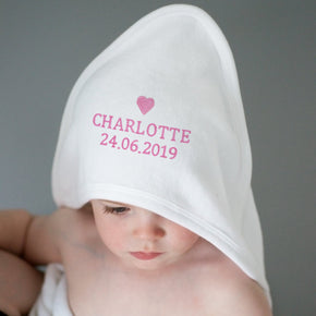 Personalised Pink Heart White Hooded Baby Towel