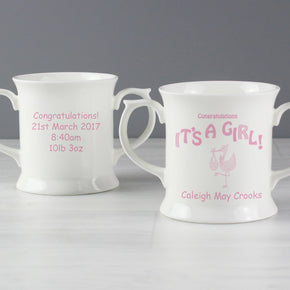 Personalised Stork It's a Girl Loving Mug