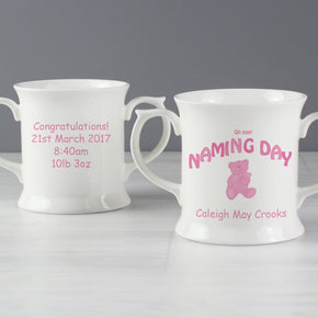 Personalised Teddy Pink Naming Day Loving Mug