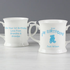 Personalised Teddy Blue 1st Birthday Loving Mug