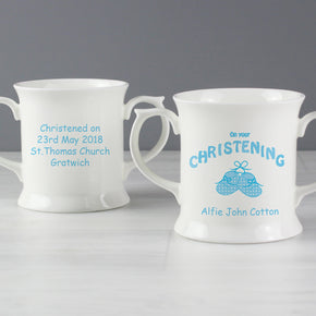 Personalised Bootee Blue Christening Loving Mug