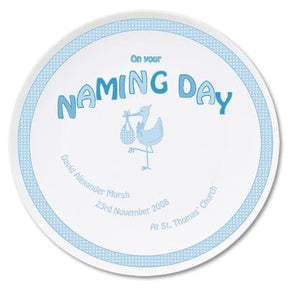Personalised Stork Blue Naming Day Plate